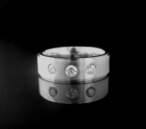 Platinum Gents Wedding Ring. Set with 3 x round brilliant cut diamonds 3 = .42tcw. Platinum weight 20 grams!