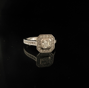 18ct White gold Assher cut diamond halo engagement ring