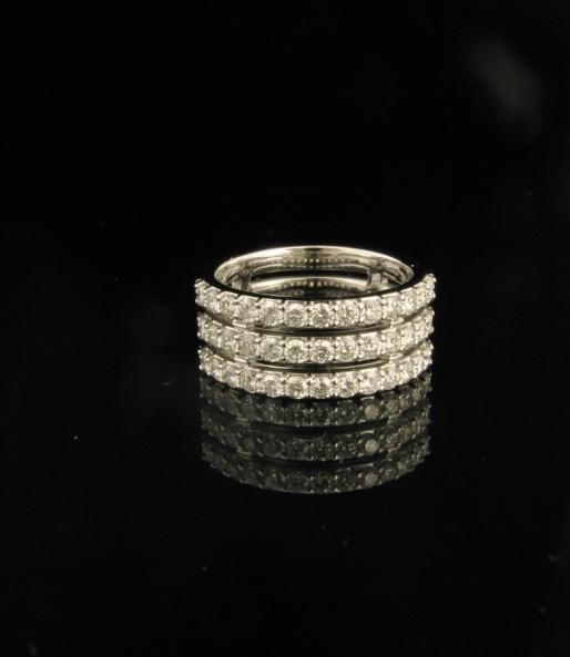 18ct White gold triple row diamond set wedding ring