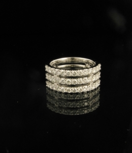 18ct White gold triple row diamond set wedding ring
